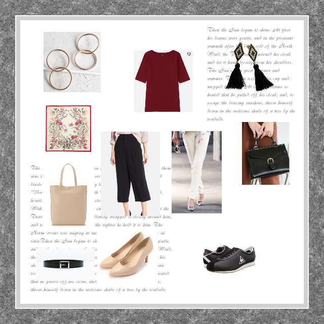 「カジュアル、オフィス」に関するAG by aquagirlのパンツ、UNIQLOのワイドパンツ等を使ったコーデ画像