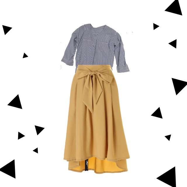 シャツ/ブラウス、フレアスカート等を使ったコーデ画像