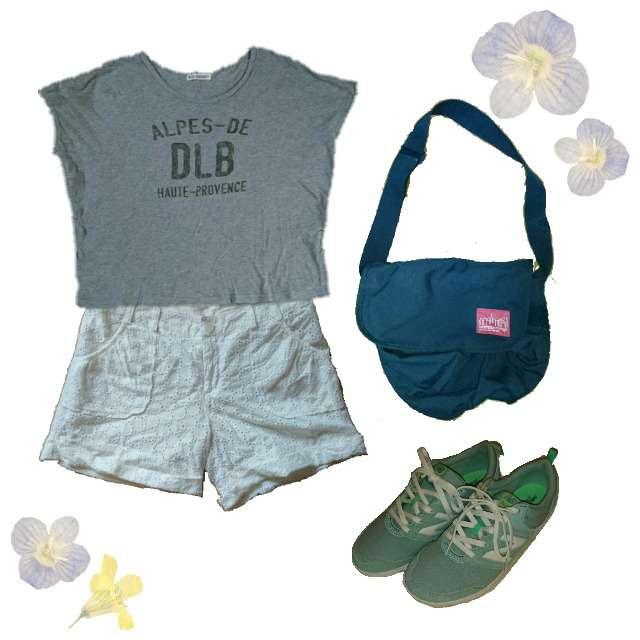B.L.U.EのTシャツ/カットソー、ショートパンツ等を使ったコーデ画像