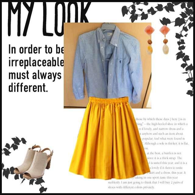 シャツ/ブラウス、GRLのフレアスカート等を使ったコーデ画像