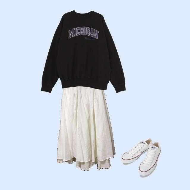 Ungridのパーカー/スウェット、niko and...のマキシ丈スカート等を使ったコーデ画像