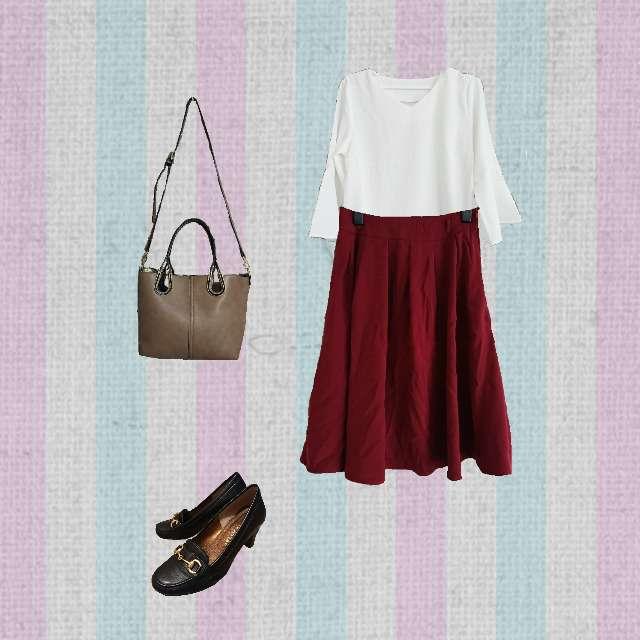 「コンサバ・エレガント、デート」に関するHONEYSのTシャツ/カットソー、HONEYSのひざ丈スカート等を使ったコーデ画像