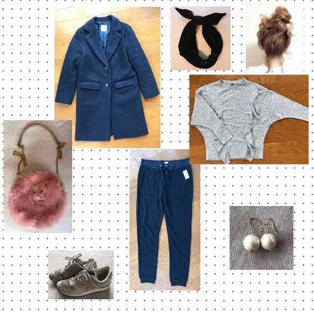 「ストリート、休日」に関するStradivariusのニット/セーター、GAPのジョガーパンツ等を使ったコーデ画像