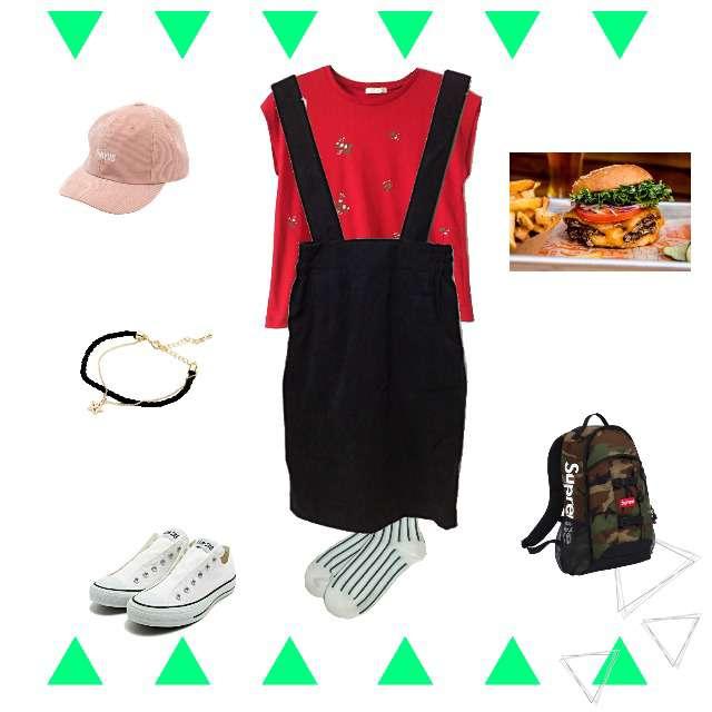 「スポーティ・スポーツMIX、休日、おでかけ、旅行」に関するAG by aquagirlのTシャツ/カットソー、CONVERSEのスニーカー等を使ったコーデ画像