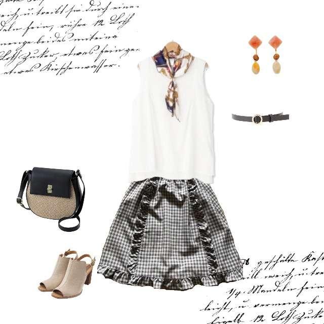 Tシャツ/カットソー、Ank Rougeのミニスカート等を使ったコーデ画像
