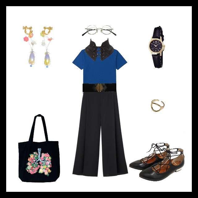 「シンプル」に関するUNIQLOのTシャツ/カットソー、GUのワイドパンツ等を使ったコーデ画像