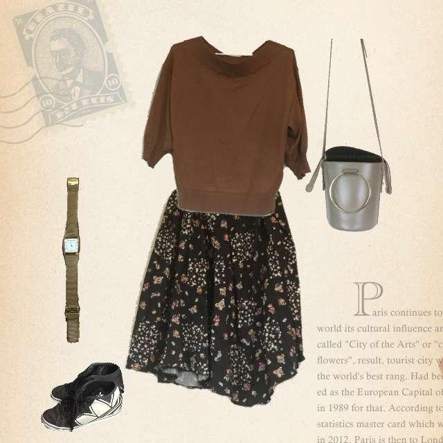 「ナチュラル・リラックス、おでかけ」に関するGUのニット/セーター、ミモレ丈スカート等を使ったコーデ画像
