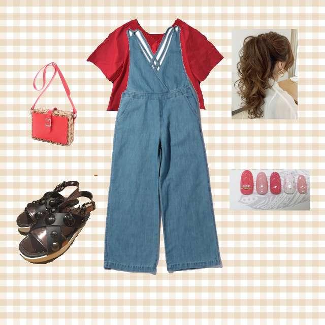 JENAのシャツ/ブラウス、ROSE BUDのサロペット・オーバーオール等を使ったコーデ画像