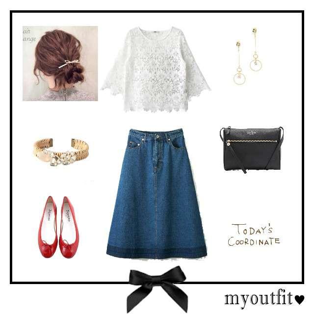 「ガーリー・フェミニン、女子会」に関するHeatherのTシャツ/カットソー、haco!のデニムスカート等を使ったコーデ画像