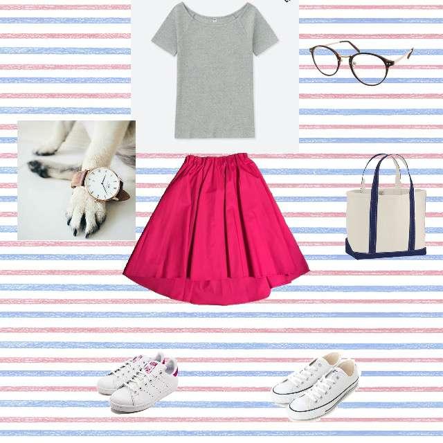 「カジュアル、学校」に関するUNIQLOのTシャツ/カットソー、B.C.STOCKのひざ丈スカート等を使ったコーデ画像