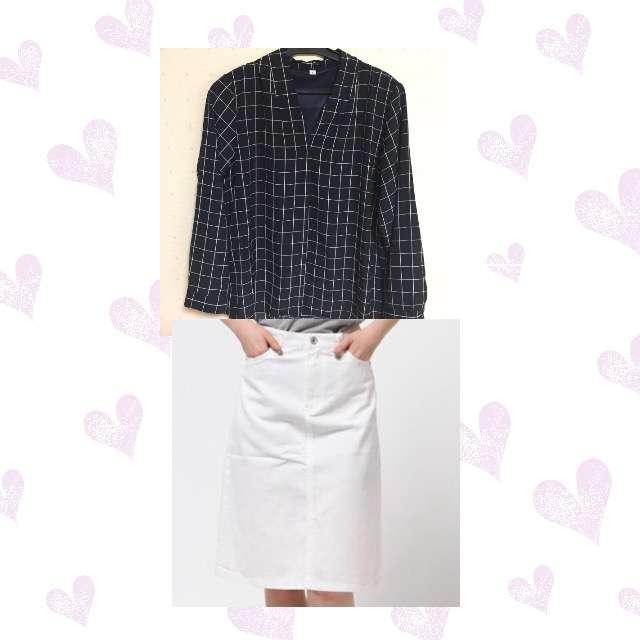 しまむらのシャツ/ブラウス、UNIQLOのひざ丈スカート等を使ったコーデ画像