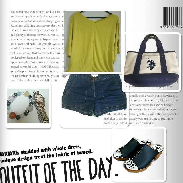 「ナチュラル・リラックス、休日、イエロー×デニム、サボ」に関するROPE' PICNICのTシャツ/カットソー、Guessのショートパンツ等を使ったコーデ画像