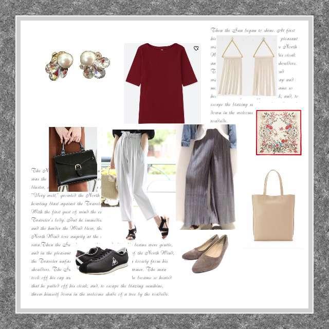 「シンプル、オフィス」に関するDiscoatのワイドパンツ、Discoatのワイドパンツ等を使ったコーデ画像