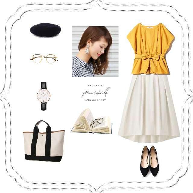 「ガーリー・フェミニン、学校、白、トートバッグ、着回し」に関するTシャツ/カットソー、GUのミモレ丈スカート等を使ったコーデ画像