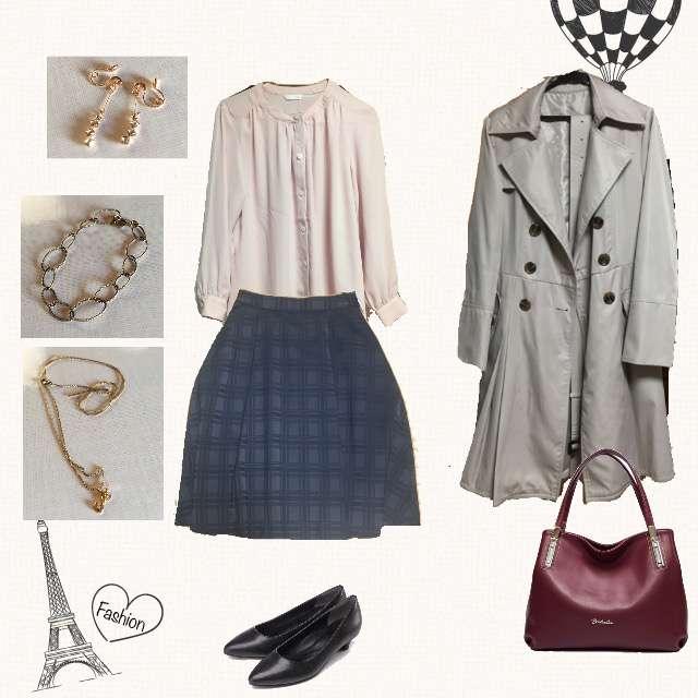 「シンプル、オフィス」に関するシャツ/ブラウス、ひざ丈スカート等を使ったコーデ画像