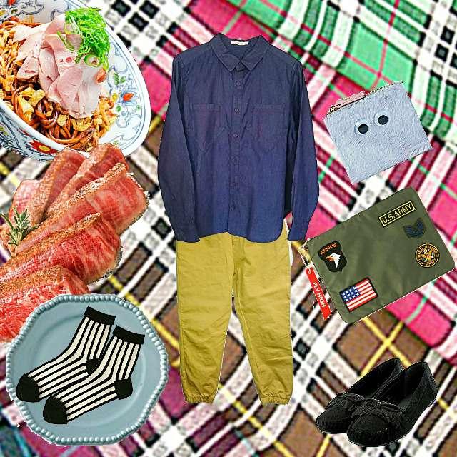 「カジュアル、デート、リアルクローゼット」に関するdidiziziのシャツ/ブラウス、didiziziのジョガーパンツ等を使ったコーデ画像
