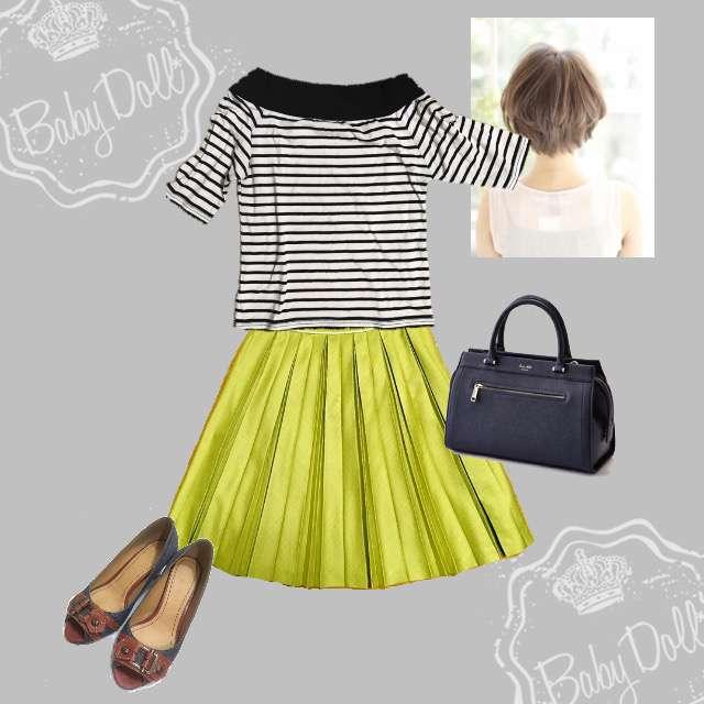 「シンプル、オフィス、おでかけ、黄色」に関するTシャツ/カットソー、ひざ丈スカート等を使ったコーデ画像