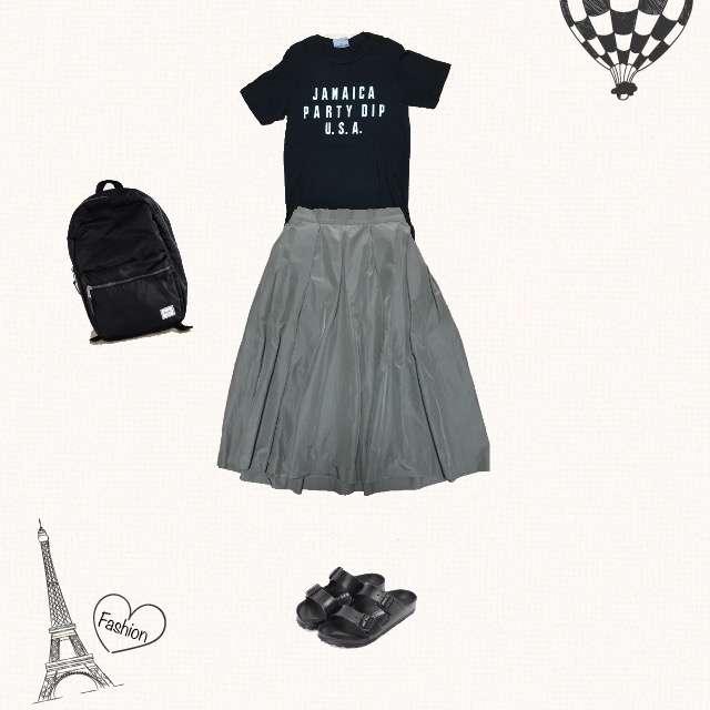 journal standard L'essageのTシャツ/カットソー、BEAUTY&YOUTH UNITED ARROWSのミモレ丈スカート等を使ったコーデ画像