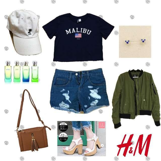 「ガーリー・フェミニン、ヘソ出し」に関するH&MのTシャツ/カットソー、ショートパンツ等を使ったコーデ画像