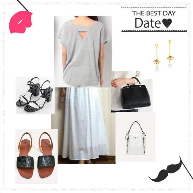 「休日」に関するPLSTのTシャツ/カットソー、UNIQLOのマキシ丈スカート等を使ったコーデ画像