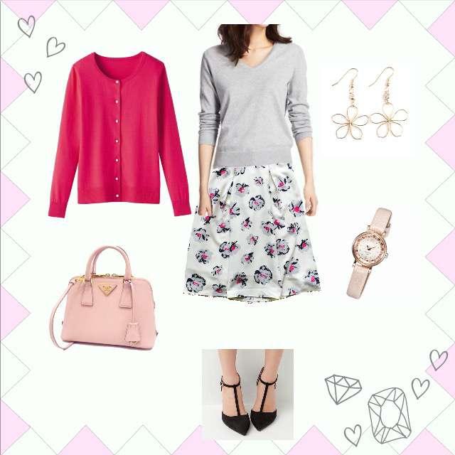 「ガーリー・フェミニン、おでかけ、女子会、デート、花柄、ピンク」に関するRUのカーディガン、UNIQLOのニット/セーター等を使ったコーデ画像