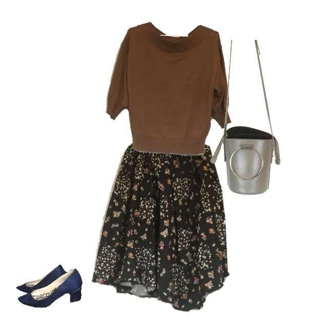 「デート」に関するGUのニット/セーター、ミモレ丈スカート等を使ったコーデ画像