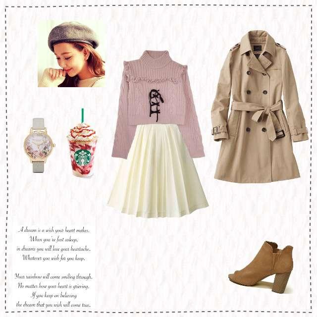 「ガーリー・フェミニン、女子会、ピンクニット、ベレー帽」に関するHoney mi Honeyのニット/セーター、GRLのフレアスカート等を使ったコーデ画像