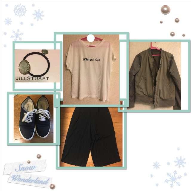 「カジュアル、整体」に関するHONEYSのTシャツ/カットソー、GUのガウチョパンツ等を使ったコーデ画像
