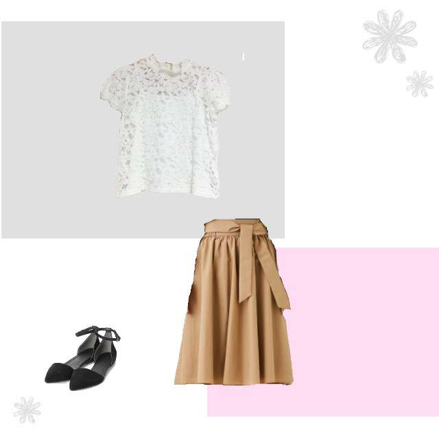 REDYAZELのTシャツ/カットソー、STUDIOSのミモレ丈スカート等を使ったコーデ画像