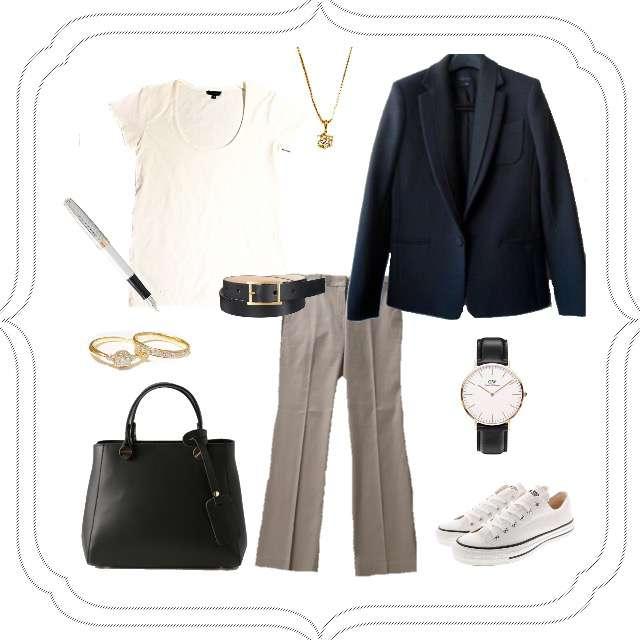 「シンプル、オフィス、パンツ、ジャケット」に関するtheoryのTシャツ/カットソー、theoryのスラックス等を使ったコーデ画像