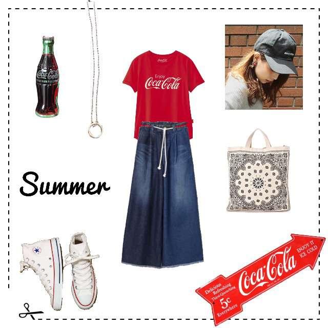 「カジュアル、休日、コカT、コカコーラ、お題、赤Tシャツ」に関するGUのTシャツ/カットソー、JEANASISのワイドパンツ等を使ったコーデ画像