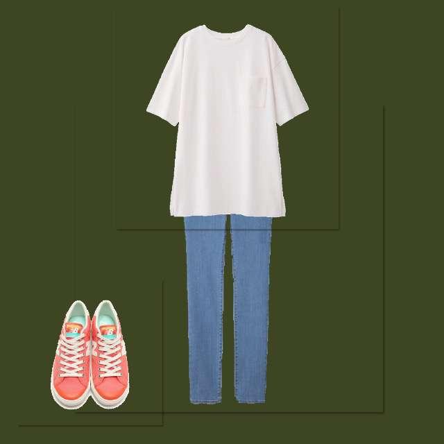 「シンプル、学校」に関するGUのTシャツ/カットソー、GUのスキニーパンツ等を使ったコーデ画像
