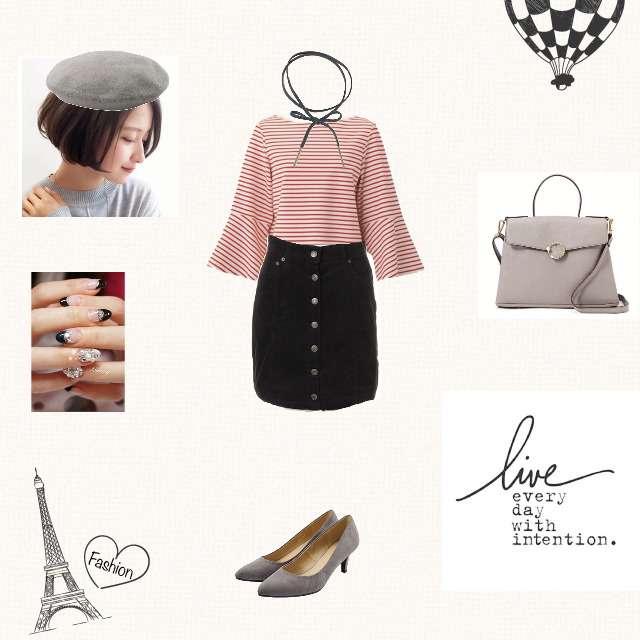 「シンプル、カフェ、パリジェンヌ、お題、ボーダーT、赤トップス、ベレー帽」に関するGUのTシャツ/カットソー、INGNIのタイトスカート等を使ったコーデ画像