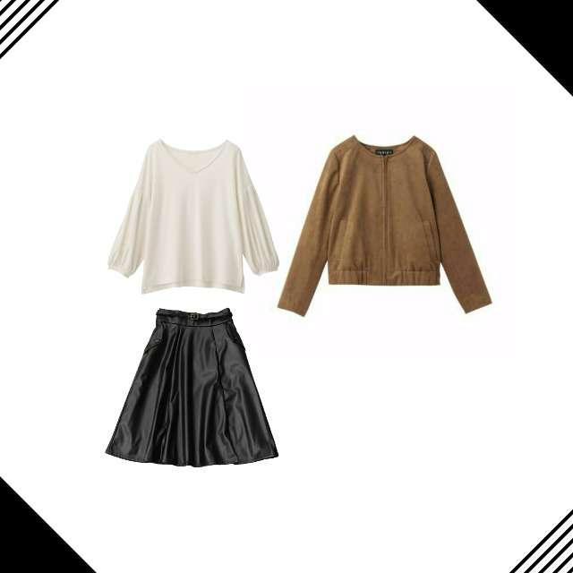 「コンサバ・エレガント、おでかけ、レザースカート」に関するGUのTシャツ/カットソー、axes femmeのフレアスカート等を使ったコーデ画像