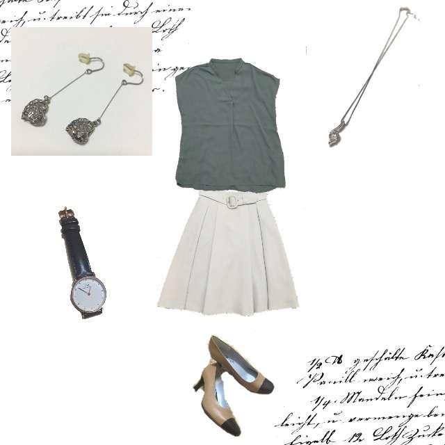 GUのシャツ/ブラウス、Debut de Fioreのフレアスカート等を使ったコーデ画像