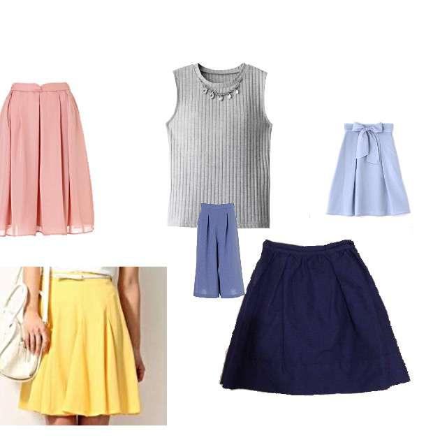 GRLのTシャツ/カットソー、PROPORTION BODY DRESSINGのフレアスカート等を使ったコーデ画像