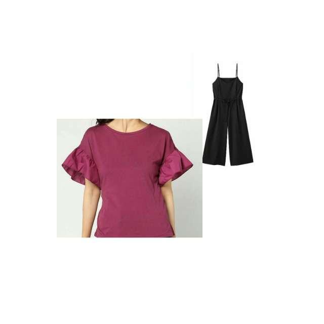 WEGOのTシャツ/カットソー、GUのオールインワン等を使ったコーデ画像