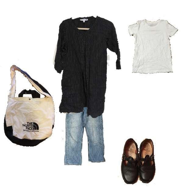 UNIQLOのカーディガン、MUJI(無印良品)のTシャツ/カットソー等を使ったコーデ画像