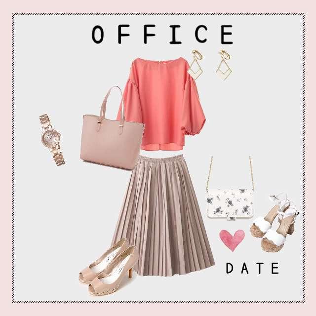 「オフィス、おでかけ、デート、靴とカバンかえるだけ、ピンク」に関する31 sons de modeのTシャツ/カットソー、GRLのプリーツスカート等を使ったコーデ画像
