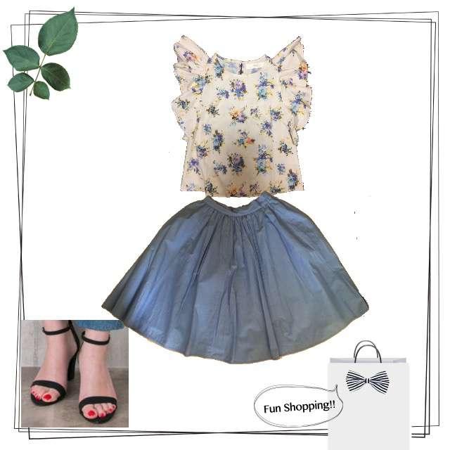 tocco closetのシャツ/ブラウス、ひざ丈スカート等を使ったコーデ画像