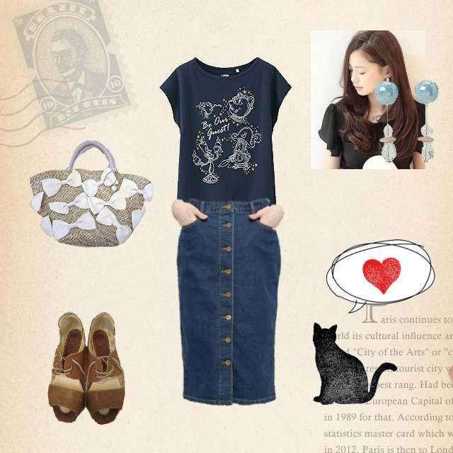 「カジュアル、ドライブ」に関するUNIQLOのTシャツ/カットソー、INDEXのタイトスカート等を使ったコーデ画像