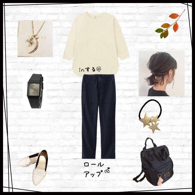 「カジュアル、休日、かぶる」に関するUNIQLOのTシャツ/カットソー、GUのテーパードパンツ等を使ったコーデ画像