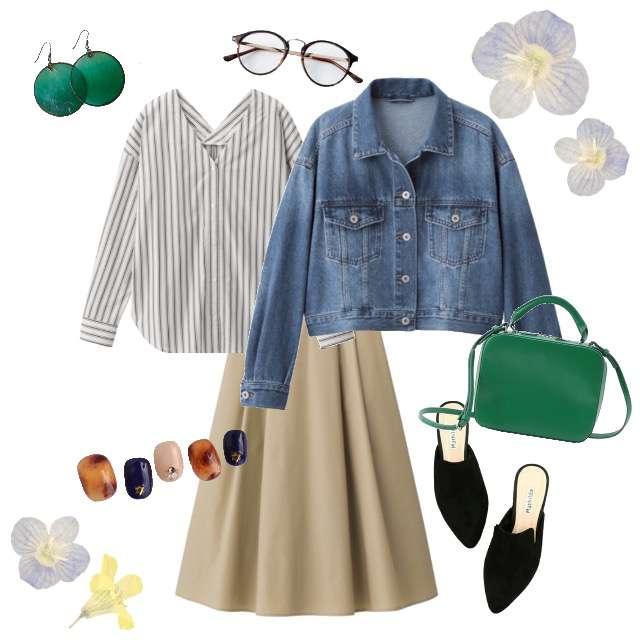 「シンプル」に関するGUのシャツ/ブラウス、GUのスカート等を使ったコーデ画像