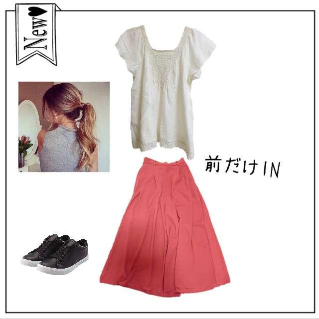 LOWRYS FARMのシャツ/ブラウス、RETRO GIRLのガウチョパンツ等を使ったコーデ画像