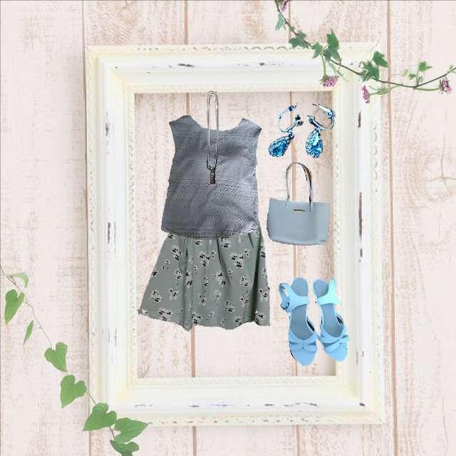 「ガーリー・フェミニン、女子会」に関するGUのキャミソール/タンクトップ、HONEYSのひざ丈スカート等を使ったコーデ画像