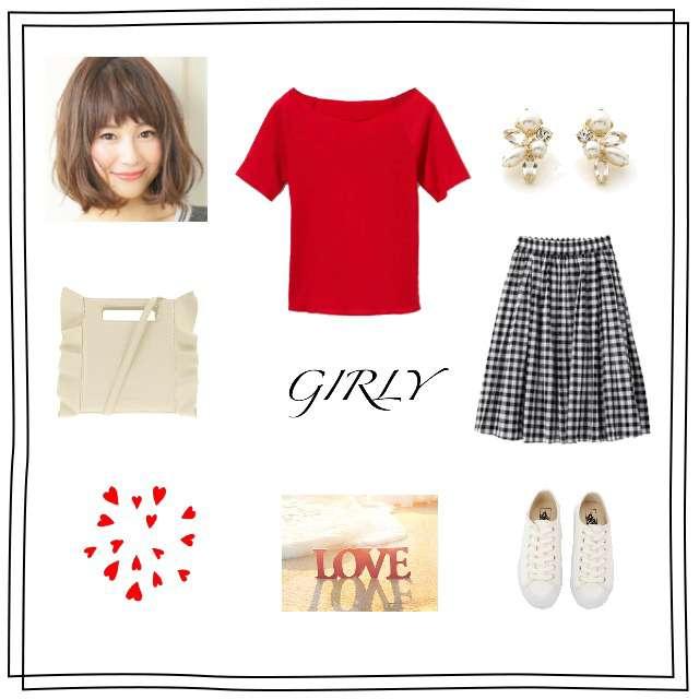 「ガーリー・フェミニン、おでかけ、赤Tシャツ、GRL、GU、VANS、白 スニーカー、フリルショルダーバッグ、ガーリーカジュアル、プチプラ、夏コーデ、オフショル」に関するGRLのTシャツ/カットソー、GUのひざ丈スカート等を使ったコーデ画像