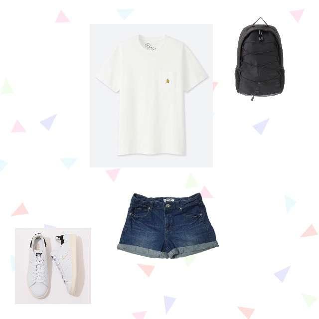 UNIQLOのTシャツ/カットソー、HONEYSのショートパンツ等を使ったコーデ画像