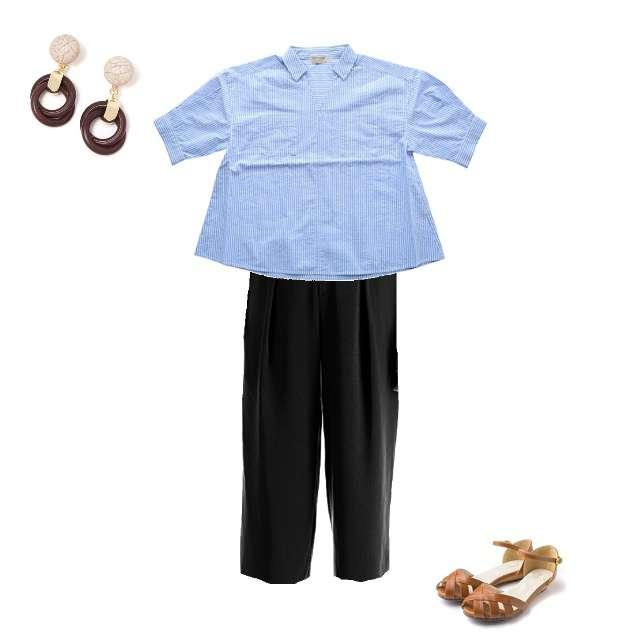 「着用済、客先」に関するHeart Marketのシャツ/ブラウス、UNIQLOのガウチョパンツ等を使ったコーデ画像