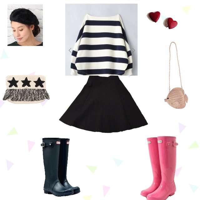 「ガーリー・フェミニン、雨の日」に関するTシャツ/カットソー、UNIQLOのひざ丈スカート等を使ったコーデ画像