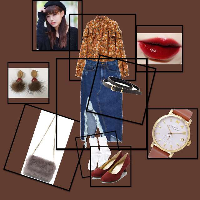 「休日、韓国風、大人、可愛い」に関するGRLのシャツ/ブラウス、Narcissusのデニムスカート等を使ったコーデ画像